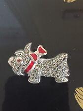 Super Cute Silver Enamel Scottie Dog Brooch /pendant
