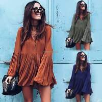 Women Ladies Long Sleeve V Neck Pleated Party Mini Skater Dress Loose Long Top