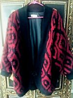 VTG Horchow Mohair Sweater Jacket Sz L Fully Lined Geometric Frog Button Asian