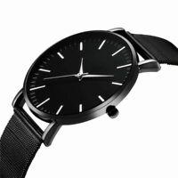 Men Trendy Ultra Thin Minimalist Watch Slim Mesh Strap Stainless Steel Quartz