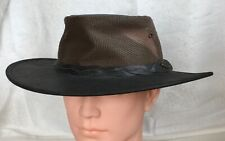 ** COASTLINE HATS ** Mens Brown Leather Mesh Safari Cowboy Style Hat Medium 57cm