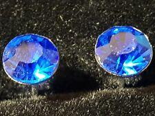 PUNK ROCK BLUE SAPPHIRE  Coloured CZ Stainless Steel Earrings Studs 6.MM