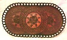 Vintage Leather Valet Tray Mandala Tooled RIO Mens Key Oval Platter Storage