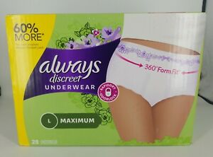Always Discreet Incontinence Underwear Maximum Absorbency Large 28 Count Sealed