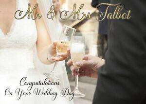 PERSONALISED GLOSSY WEDDING CARD-MR&MRS-BRIDE&GROOM - 'CHEERS' - ADD SURNAME
