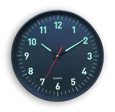 Horloge Silencieuse phosphorescente à Quartz Noire 25 cm Pendule Heure Lumineuse