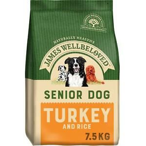 7.5kg James Wellbeloved Natural Senior Complete Dry Dog Food Turkey & Rice