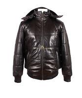 Colorado Black Mens Puffer Bomber Winter Warm Real Soft Lamsbkin Leather Jacket