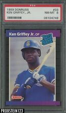 1989 Donruss #33 Ken Griffey Jr. Seattle Mariners RC Rookie HOF PSA 8 NM-MT