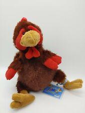 "Ganz Chicken Plush 8"" Webkinz Brown Stuffed Animal / Red Comb w/ code"
