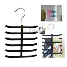 XD#3 1pc 12 Bar Velvet Flocked Non-Slip Scarf Shawl Tie Belt Towel Hanger Metal