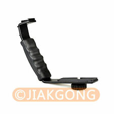 Heavy Duty Photography L-bracket with 2 Standard Flash Hot Shoe Mount