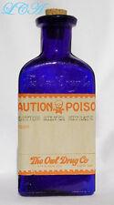 Old OWL DRUG Co POISON bottle w/ COLORFUL LABEL deep COBALT BLUE color TRIANGLE