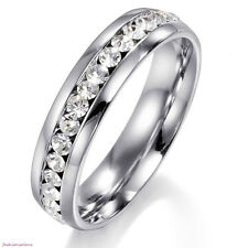 Eternity Cubic Zirconia Wedding Band Ring Silver Stainless Steel Size 5