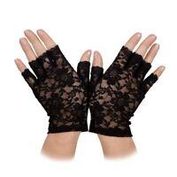 Short Lace Black Gloves Ladies Punk 80s Fancy Dress Accessory