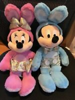Disney Store Mickey & Minnie Mouse Easter Bunny Medium Plush New with Tags 2018