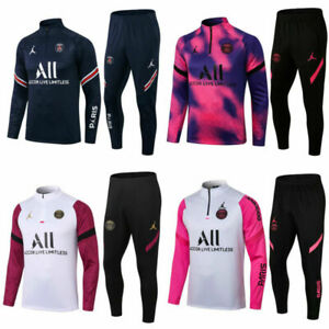 UK Adult Mens Football Tracksuit Soccer Sportwear Tops & Bottoms Training Suit