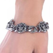 Fashion Stainless Steel Skull Bracelet Unisex Punk Bracelet Bangle Chain Jewelry