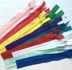 """10 x Nylon Zips Size 3 Closed End Autolock / BRIGHTS / Sizes 6""""-16"""" / Sewing"""