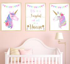 Unicorn Nursery Prints Set of 3, Baby Girl Bedroom Art Pictures, Children gift