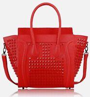 Ladies Leather Style Crossbody Studded Shoulder Satchel Bag Women Tote Handbag
