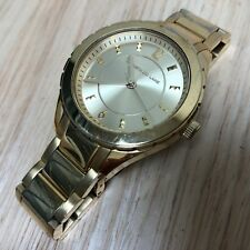 Kenneth Jay Lane Lady 50m Gold Tone Steel Analog Quartz Watch Hours~New Battery