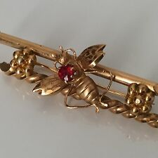 Broche en Or 18K Abeille avec Rubis Bijou Ancien XIXè Victorian Gold Brooch Bee