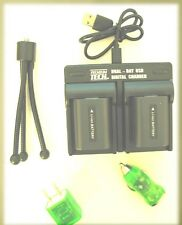 2X Batteries + Dual Bay USB Charger +Wall + Car for Sony NP-FH30 NP-FH50 NP-FH60