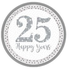 "8 x 25 Happy Years 9"" Paper Plates Silver Wedding Anniversary Party Tableware"
