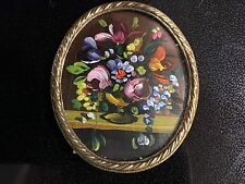 Antique French Tiny Oil Painting Flowers Hand Painted France