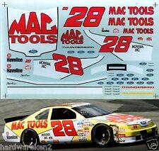 NASCAR DECAL #28 MAC TOOLS 1994 BGN FORD THUNDERBIRD ERNIE IRVAN - 1/24 SCALE