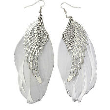 wings Dangle Eerrings Women Jewelry Fashion Silver Plated Feather Alloy Angle