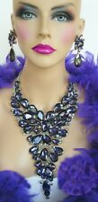PURPLE AB RHINESTONE CRYSTAL NECKLACE CLIP EARRINGS PAGEANT DRAG QUEEN STAGE