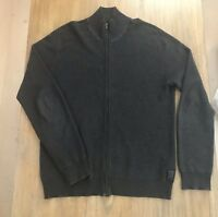 Calvin Klein Mens Full Zip Long Sleeve Sweater In Gray Size Large