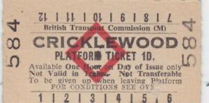 British Railways BTC Red Diamond Platform Ticket CRICKLEWOOD 584
