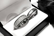 Meteorite Rings Wedding Bands His and Her Matching Ring Set 14kWhite Gold Plated