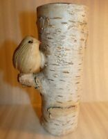 Vintage Bird on Birch Tree Tea Light Candle Holder by Living Quarters 7.5 tall