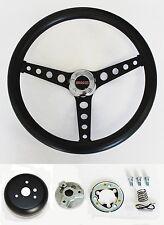 "GMC Pick Up Truck Jimmy Van Black Foam on Black Steering Wheel 14 1/2"" GMC cap"