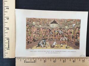 Rare Antique Original VTG 1870 Tom, Jerry Westminster Pit Litho Art Print