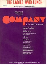 "The Ladies Who Lunch ""Company"" Sheet Music-Sondheim/Prince/Fur th-1970-Rare-New!"