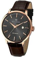 Accurist 7046 Mens Brushed Rose Gold Tone Brown Leather Strap Watch RRP £79.99