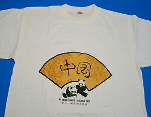 XI Asian Games 1990 t-shirt medium white RARE vintage sports China Japan Korea