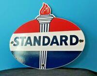 VINTAGE STANDARD GASOLINE PORCELAIN GAS SERVICE STATION TORCH PUMP PLATE SIGN