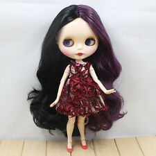 """12"""" Neo Blythe Doll from factory Purple&Black curly hair  jointed body Xmas gift"""
