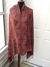 100% Soft Wool Shawl / Wrap - Rust And Burnt Orange With Violet, Reds And Blues