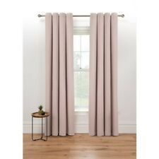 """Eyelet Pink Woven Boucle Fully Lined Curtains W90""""  x D90"""""""