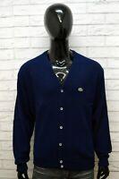 Lacoste Uomo Maglione Taglia 3XL Blu Felpa Sweater Cardigan Pullover Big Size