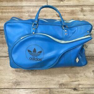 Vintage 80s Adidas Trefoil Tennis Bag Racket Bag Original Hardware Blue Black