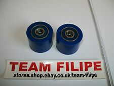 Kawasaki KX 500 84-04  Chain Roller Set Rollers Upper + Lower Chainroller Blue /
