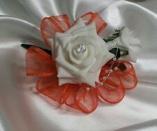 Wedding Flowers Buttonhole/Corsage Ivory Roses Orange Ribbon Pearl Loops